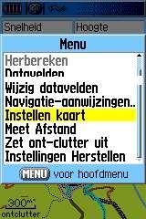 menu kaartscherm